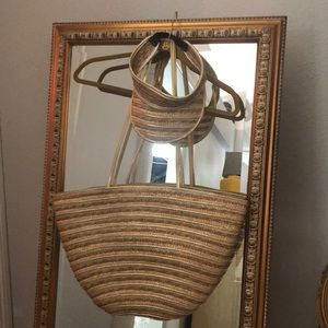 Straw tote with matching visor.